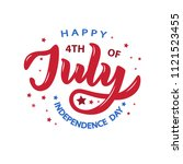 hand sketched happy fourth of... | Shutterstock .eps vector #1121523455