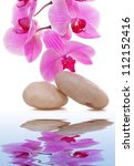 massage stones with orchid | Shutterstock . vector #112152416
