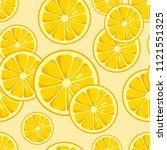lemon slices seamless pattern.... | Shutterstock .eps vector #1121551325
