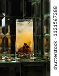lemonade cocktail on a mirror... | Shutterstock . vector #1121567288