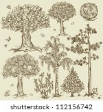 hand drawn trees isolated ... | Shutterstock .eps vector #112156742