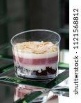 dessert tiramisu in a glass in... | Shutterstock . vector #1121568812