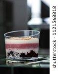 dessert tiramisu in a glass in... | Shutterstock . vector #1121568818