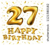 raster copy happy birthday 27rd ... | Shutterstock . vector #1121580182
