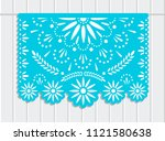 vector papel picado banner with ... | Shutterstock .eps vector #1121580638