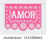 vector papel picado. amor... | Shutterstock .eps vector #1121580662