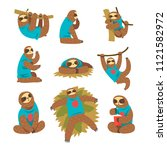 funny sloths set  lazy exotic... | Shutterstock .eps vector #1121582972