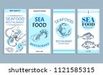seafood restaurant banner set...   Shutterstock .eps vector #1121585315