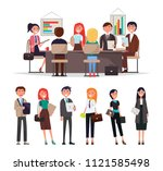 people on corporate meeting sit ... | Shutterstock .eps vector #1121585498