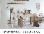 white textured kitchen in the... | Shutterstock . vector #1121585732