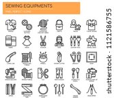 sewing elements   thin line and ...   Shutterstock .eps vector #1121586755