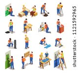 construction workers with... | Shutterstock .eps vector #1121592965