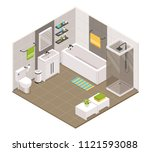 bathroom interior isometric... | Shutterstock .eps vector #1121593088