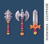 set of three medieval fantasy...   Shutterstock .eps vector #1121594108