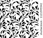 floral seamless pattern. swirls ... | Shutterstock .eps vector #1121595542