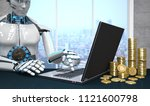 a white robot with the notebook ... | Shutterstock . vector #1121600798