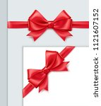 vector realistic red ribbon... | Shutterstock .eps vector #1121607152