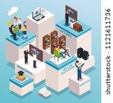 contemporary university college ... | Shutterstock .eps vector #1121611736