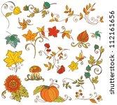 set of decorative autumn...   Shutterstock .eps vector #112161656