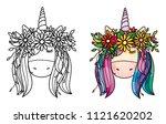 vector cute  unicorn portrait ... | Shutterstock .eps vector #1121620202