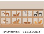 cages of dogs and cats for sale ... | Shutterstock .eps vector #1121630015