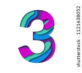 alphabet paper cut number three ... | Shutterstock .eps vector #1121638052