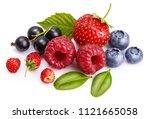 set fresh berry. mix summery...   Shutterstock . vector #1121665058