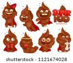 set of cartoon emoji super hero ... | Shutterstock .eps vector #1121674028