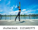 young woman workout on...   Shutterstock . vector #1121681975