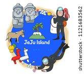 beautiful attraction of jeju... | Shutterstock .eps vector #1121683562