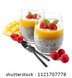 healthy vegan chia pudding with ...   Shutterstock . vector #1121707778
