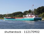 freighter on Kiel Canal, Germany - stock photo