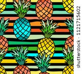 pineapple seamless pattern.... | Shutterstock .eps vector #1121715602