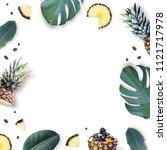 Frame Tropical Leaves Pineapple Tropical - Fine Art prints