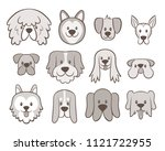 hand drawn dog faces collection.... | Shutterstock .eps vector #1121722955