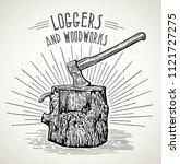 ax stuck in a wooden stump ...   Shutterstock .eps vector #1121727275