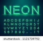 set of letters in neon style.... | Shutterstock .eps vector #1121739752