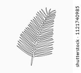palm leaf   one line drawing.... | Shutterstock .eps vector #1121740985