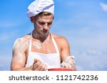 chef cook preparing dough for... | Shutterstock . vector #1121742236