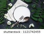 beautiful boho spring table set ... | Shutterstock . vector #1121742455