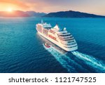 cruise ship at harbor. aerial... | Shutterstock . vector #1121747525