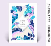 colorful botanical invitation... | Shutterstock .eps vector #1121756942