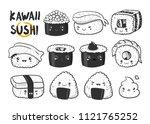 hand drawn various kawaii sushi.... | Shutterstock .eps vector #1121765252
