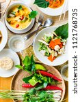 thai traditional cuisine table. ... | Shutterstock . vector #1121768735