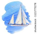 watercolor nautical set.... | Shutterstock . vector #1121775278