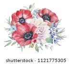 watercolor nautical bouquet....   Shutterstock . vector #1121775305