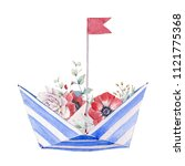 watercolor paper boat with... | Shutterstock . vector #1121775368