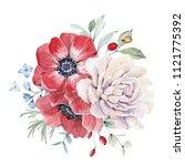 watercolor nautical bouquet.... | Shutterstock . vector #1121775392