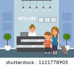 hotel reception. manager behind ... | Shutterstock .eps vector #1121778905