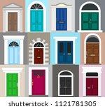 front doors set. facade. flat... | Shutterstock .eps vector #1121781305